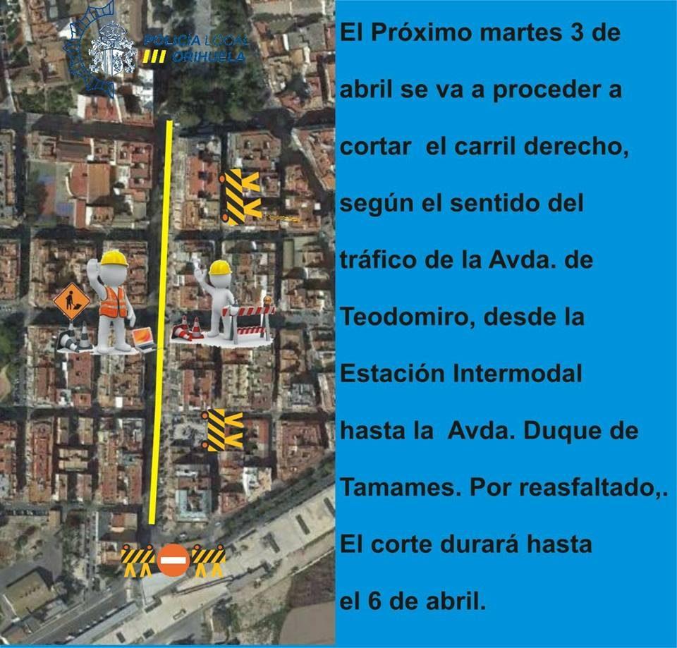 Cierran al tráfico el andén derecho de la Avenida Teodomiro de Orihuela 6