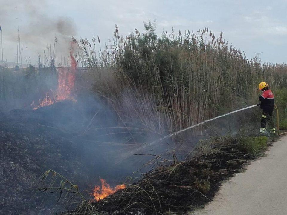 Un incendio calcina 100 m2 de cañar y matorral en San Isidro 6
