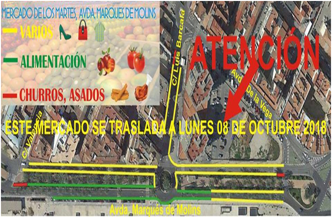 El 9 de octubre pasa el mercado de los martes de Orihuela al lunes 6