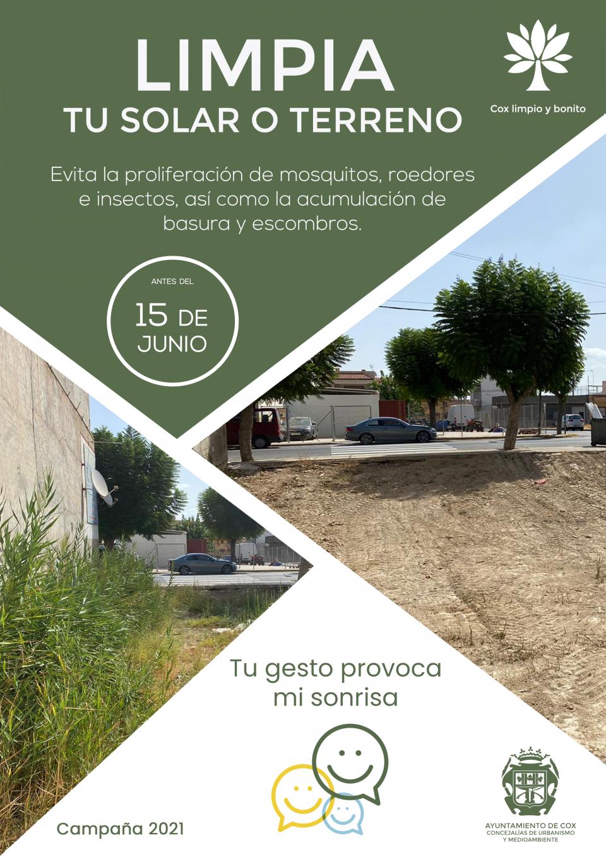 Sanciones de hasta 1500 euros en Cox si no cumples con la limpieza de solares y terrenos 6