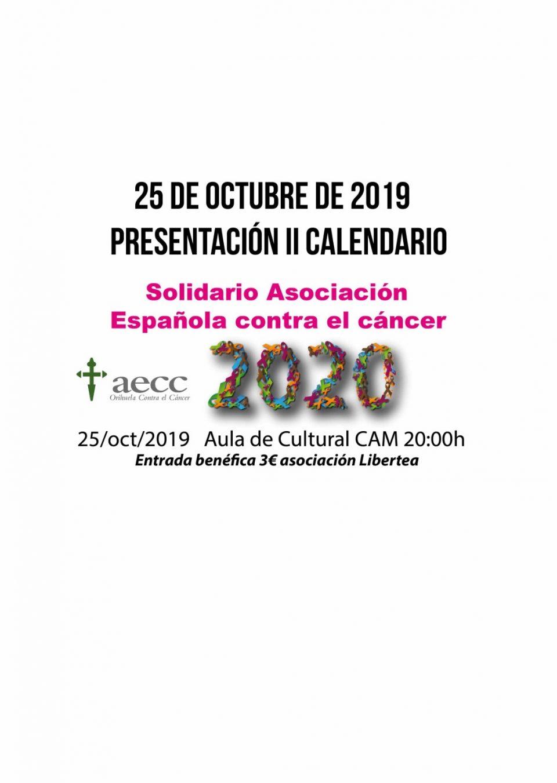 El calendario solidario de la AECC se presentará el 25 de octubre en la CAM 6