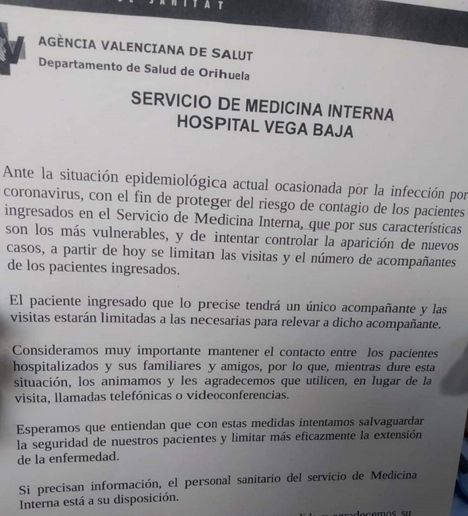 El Hospital Vega Baja limita las visitas para evitar la expansión del coronavirus 6
