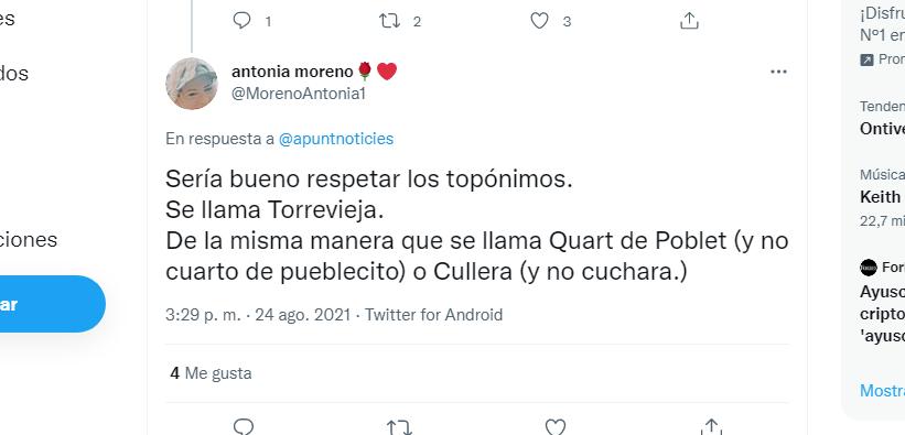 """""""Se llama Torrevieja"""", la delegada del Consell en Alicante, Antonia Moreno, reprocha a À Punt 6"""