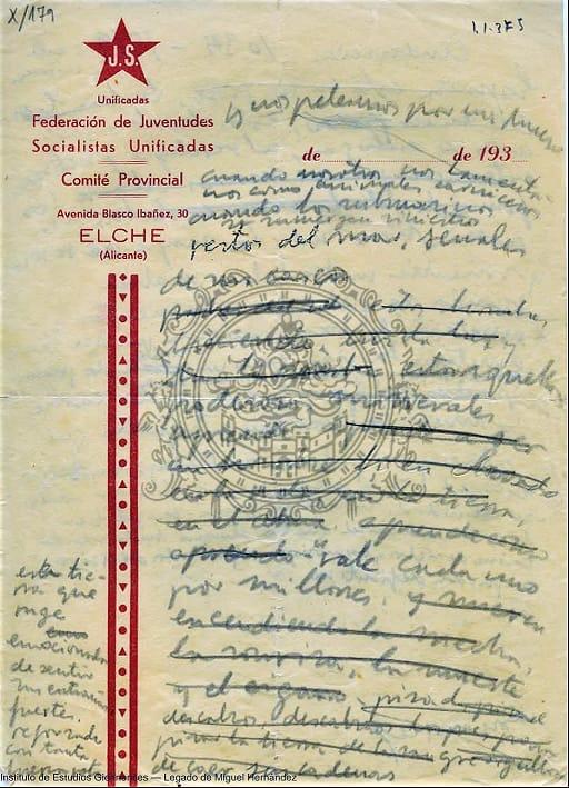 Descubren el borrador de un poema inédito de Miguel Hernández 6