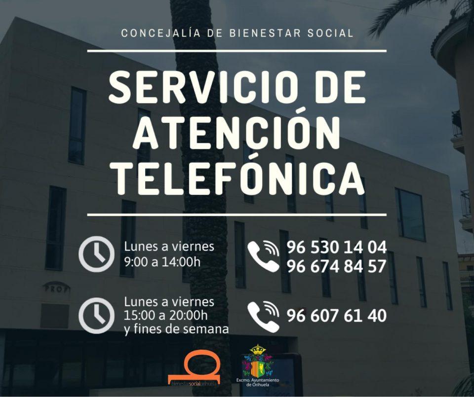 El Ayuntamiento de Orihuela recuerda los teléfonos habilitados de Servicios Sociales 6