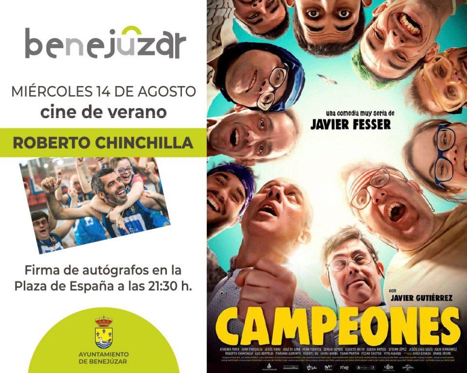 Roberto Chinchilla, actor de Campeones, visitará Benejúzar este miércoles 6