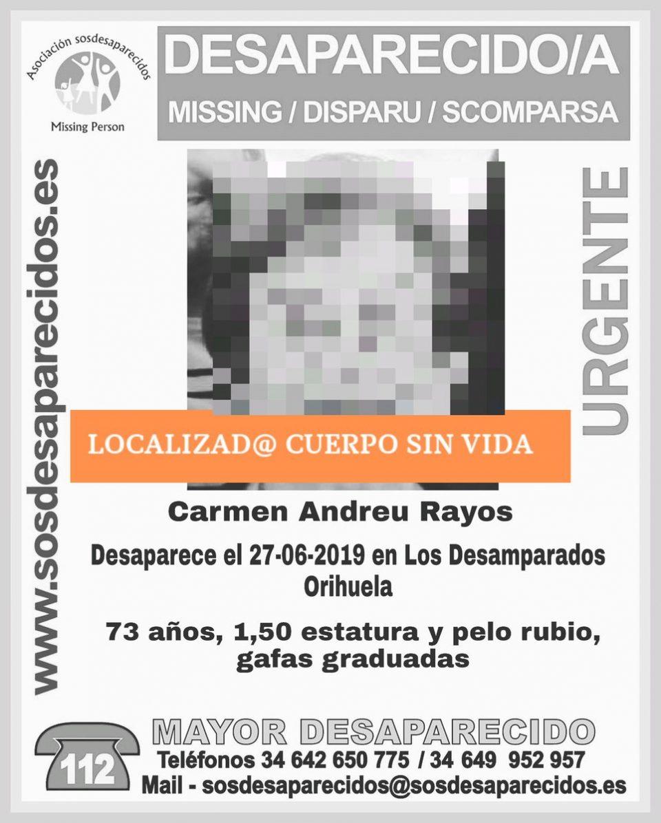 La Policía confirma que el cadáver hallado en Desamparados corresponde a Carmen Andreu 6