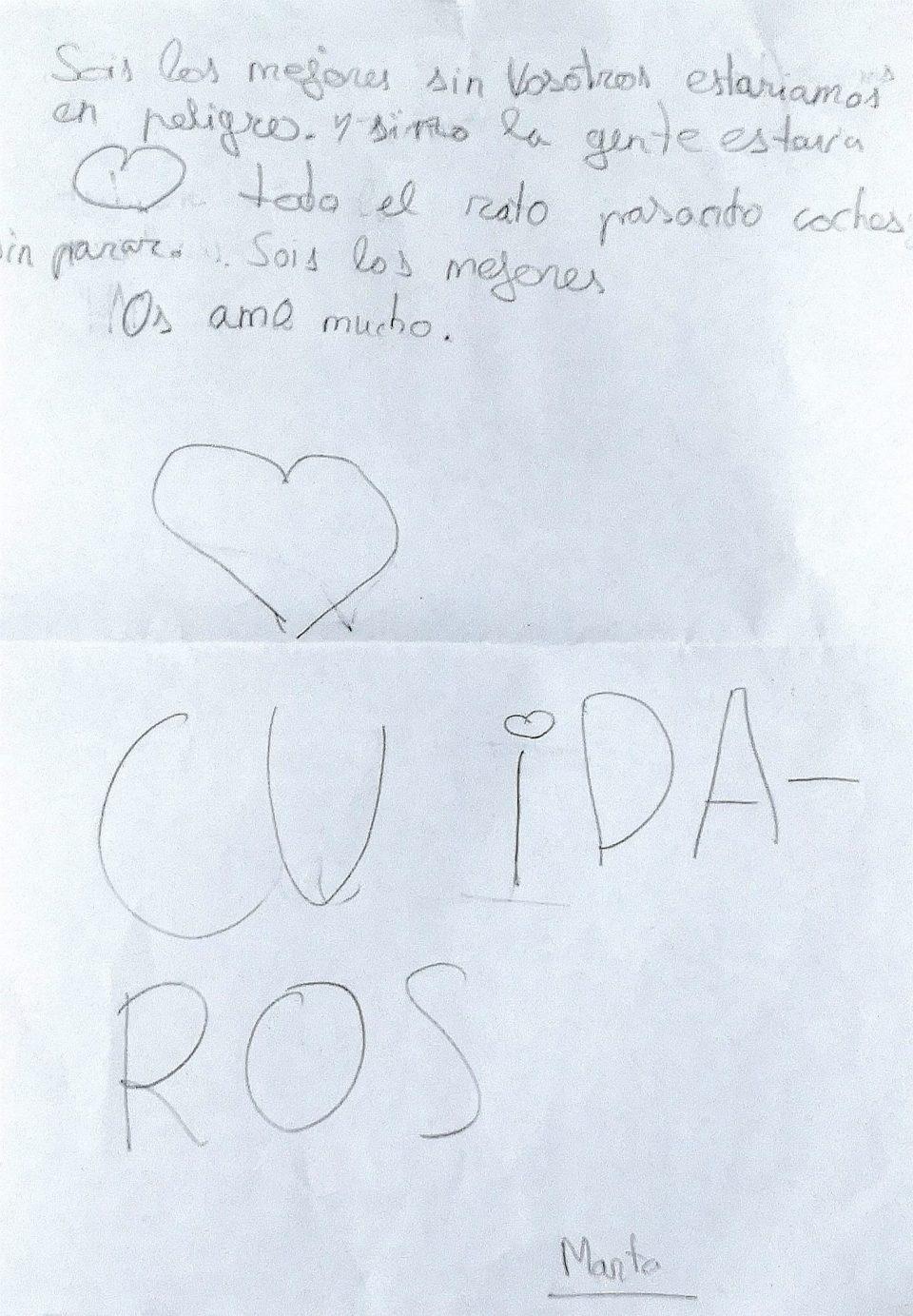 El detalle de una niña de Orihuela que ha emocionado a la Policía Local 6