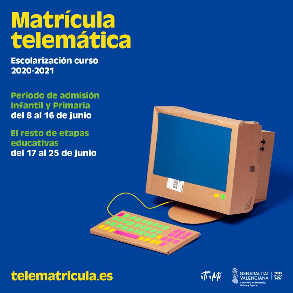 La Conselleria de Educación activa el 8 de junio la admisión telemática 6