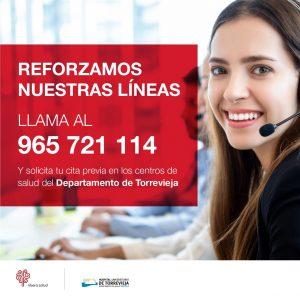 El Hospital Universitario de Torrevieja refuerza sus líneas telefónicas para solicitar cita previa en los centros de salud 7