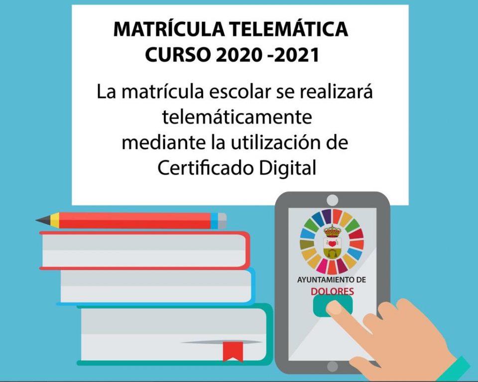 La matrícula para el próximo curso escolar se realizará de manera telemática en Dolores 6
