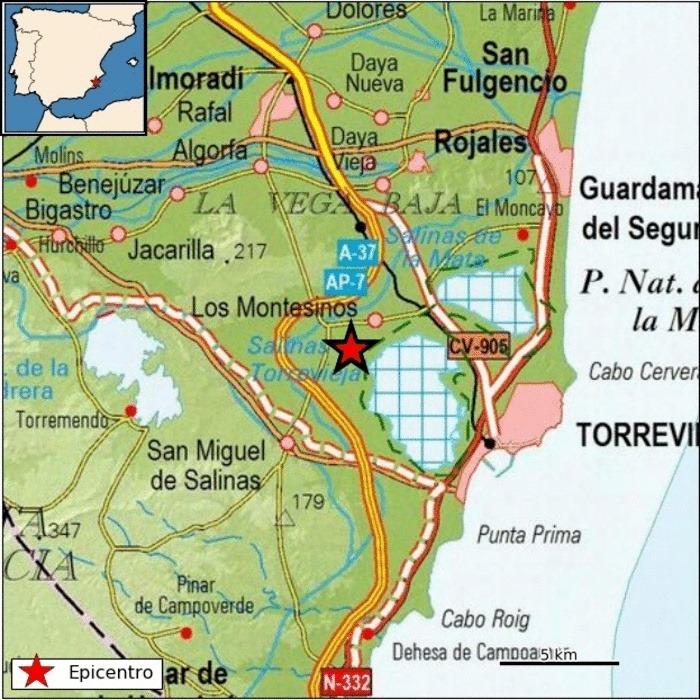 Registrados dos pequeños terremotos en Los Montesinos y en Benejúzar 6