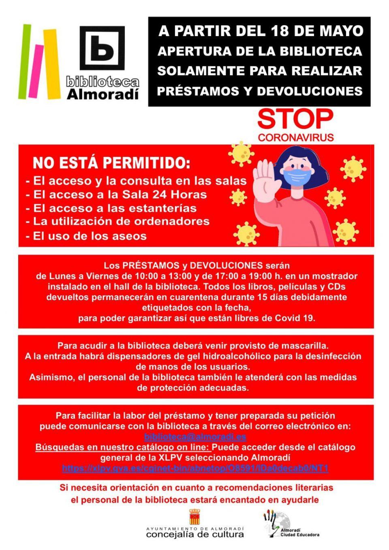 La Biblioteca Municipal de Almoradí abre sus puertas el lunes 18 de mayo 6