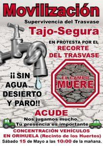 Orihuela, escenario de la gran tractorada contra el recorte del Trasvase este sábado 7