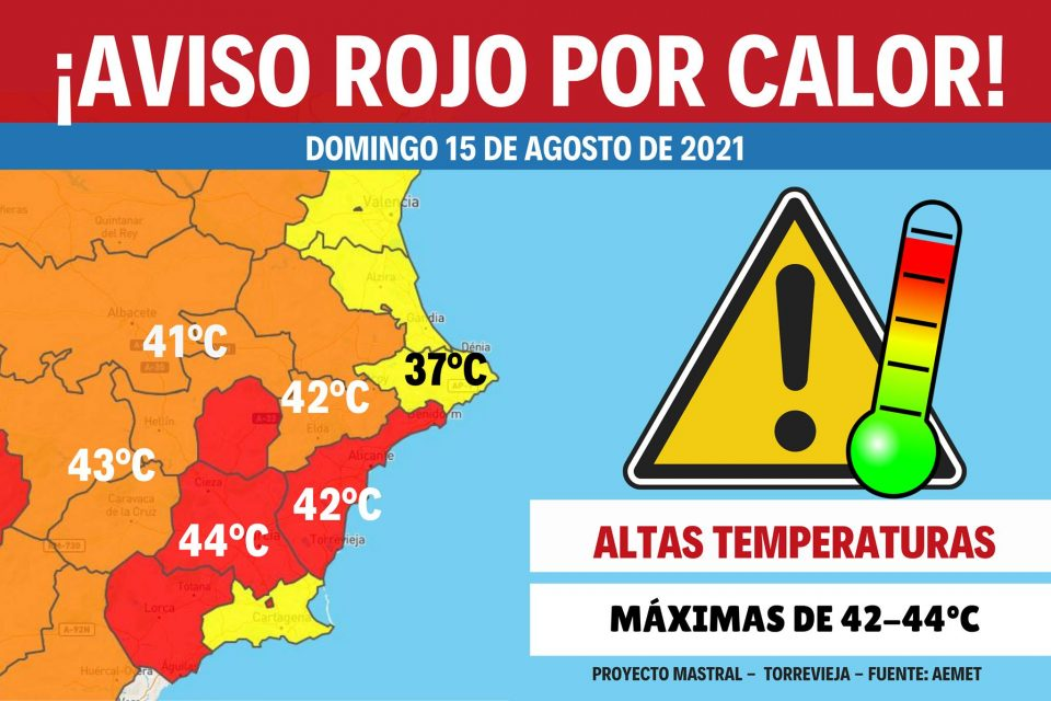 Activado aviso rojo por calor para este domingo 6