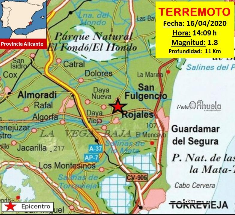 Un terremoto con epicentro en San Fulgencio se ha dejado notar esta tarde 6